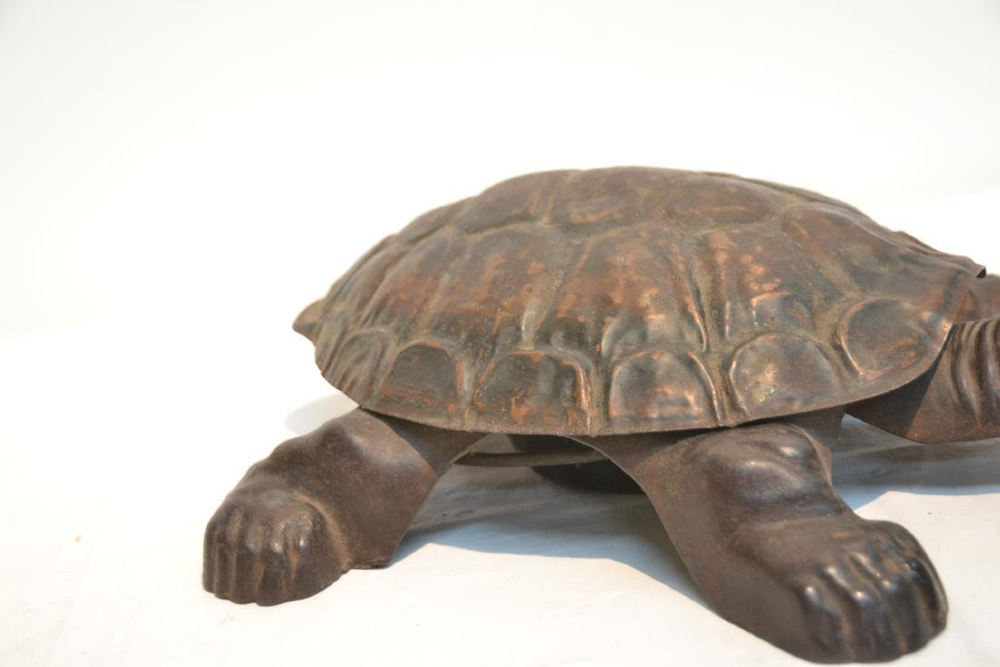 ANTIQUE MECHANICAL CAST IRON TURTLE SPITOON - 4