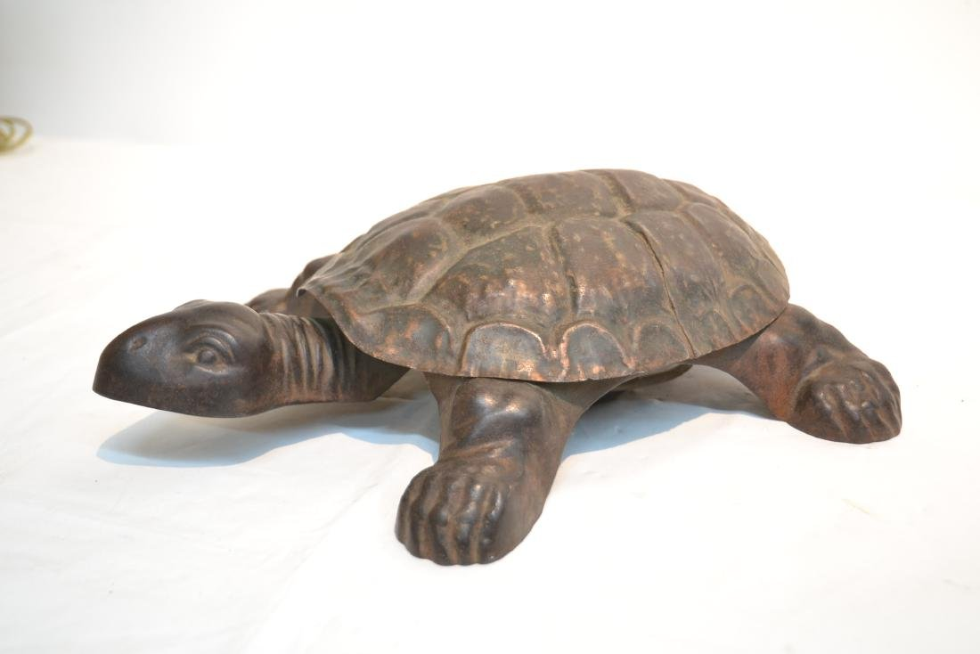 ANTIQUE MECHANICAL CAST IRON TURTLE SPITOON - 7