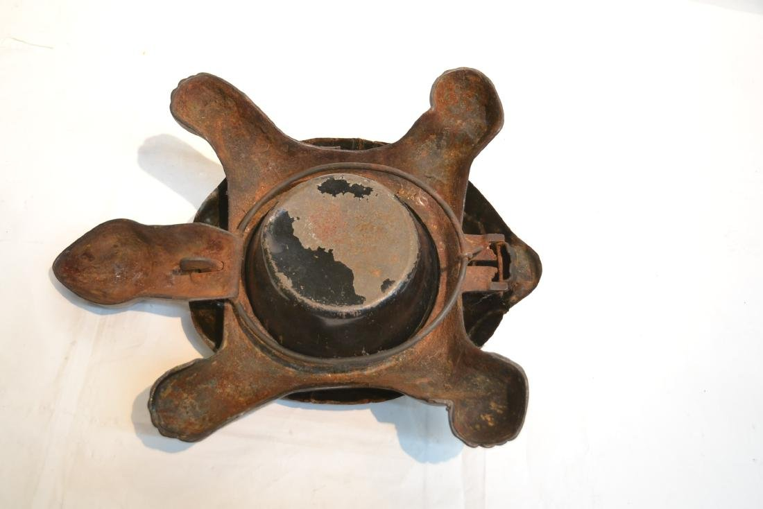 ANTIQUE MECHANICAL CAST IRON TURTLE SPITOON - 8