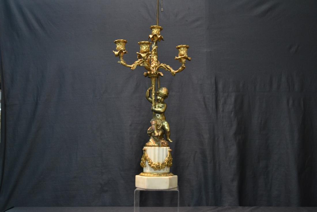 BRONZE PUTTI CANDELABRA LAMP - 2