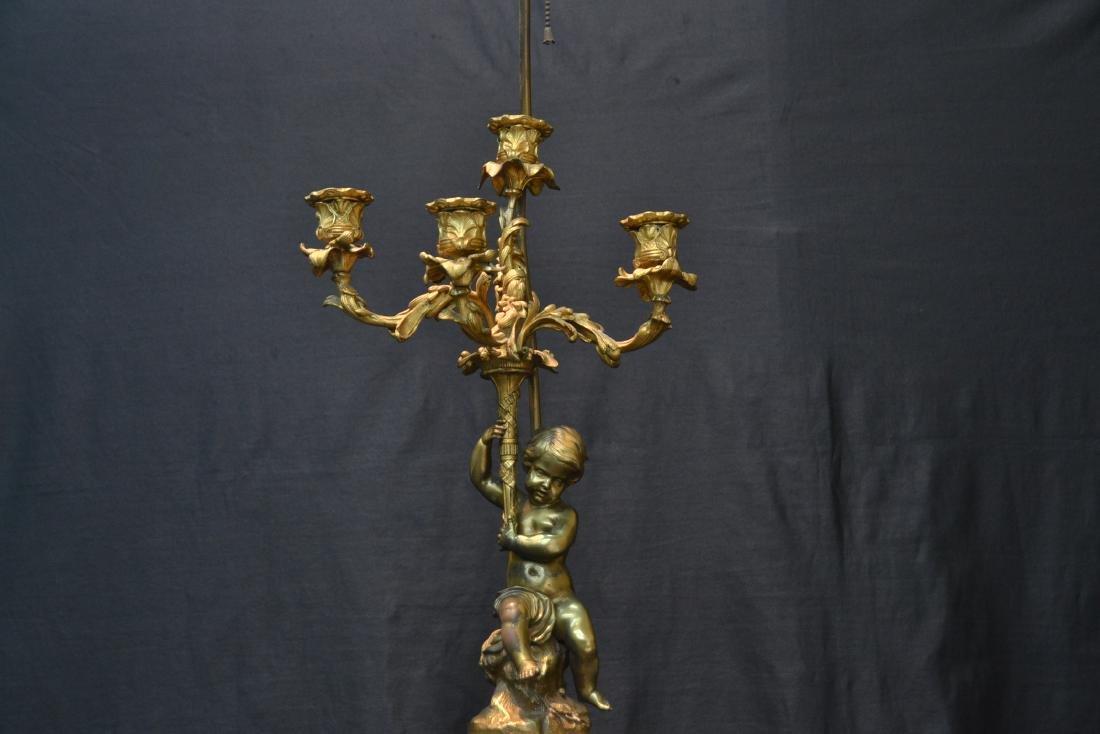 BRONZE PUTTI CANDELABRA LAMP - 4