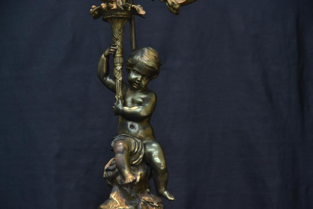 BRONZE PUTTI CANDELABRA LAMP - 6
