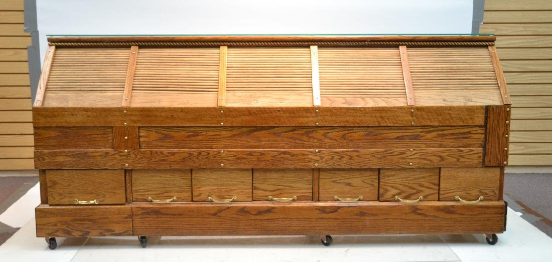 LARGE OAK GENERAL STORE COUNTER WITH
