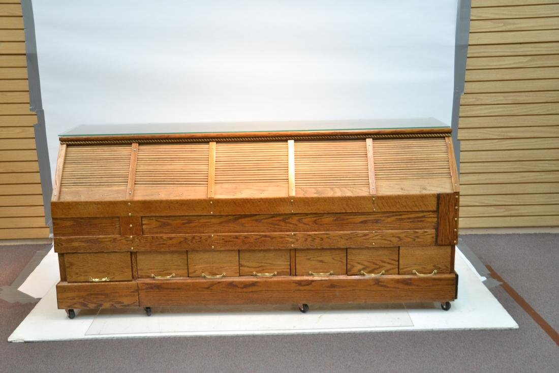 LARGE OAK GENERAL STORE COUNTER WITH - 2