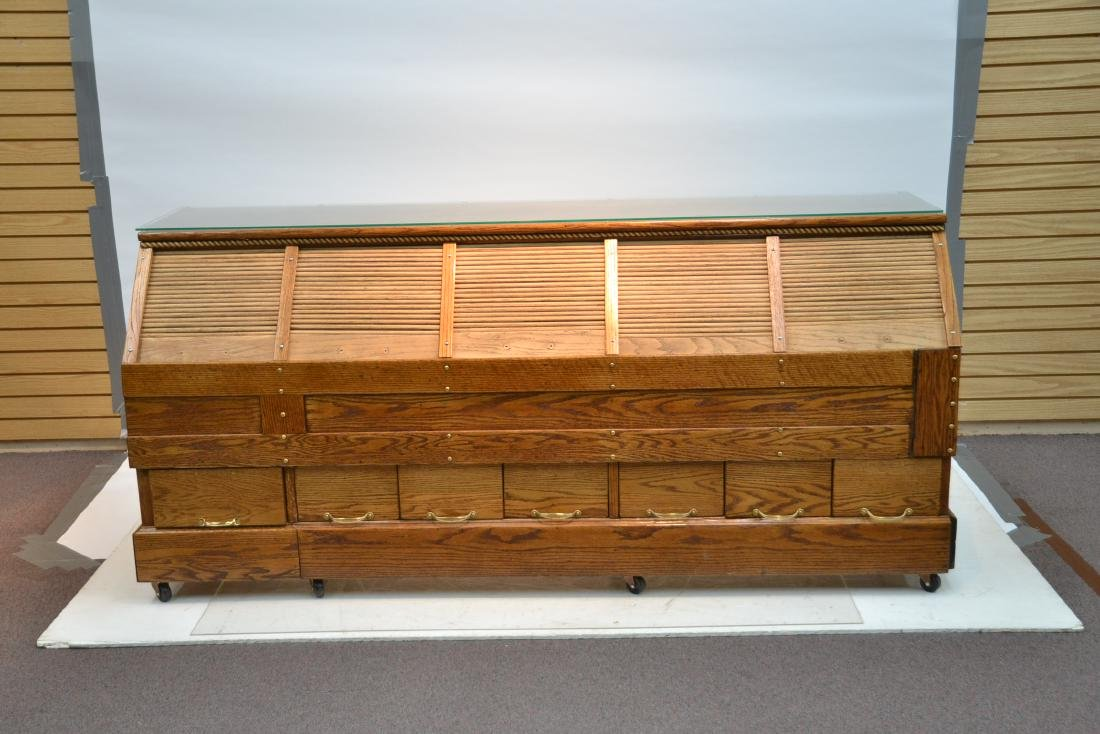 LARGE OAK GENERAL STORE COUNTER WITH - 3