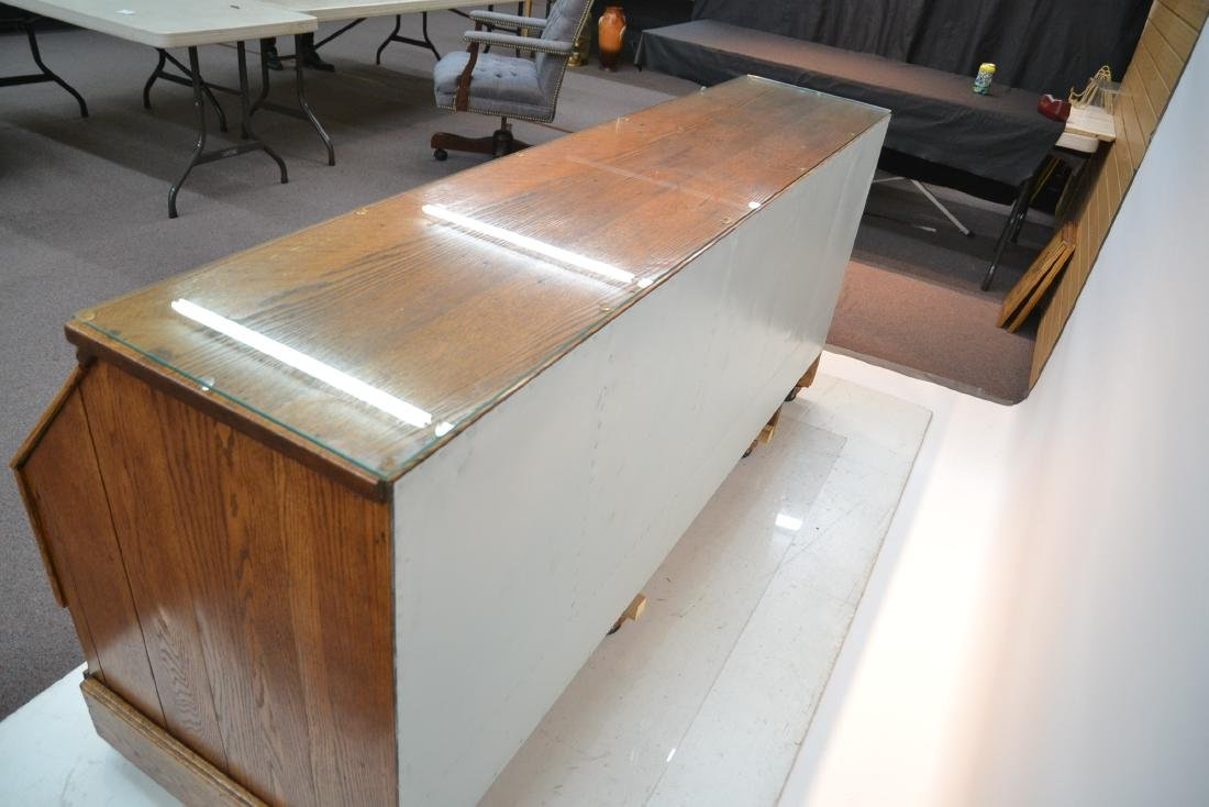 LARGE OAK GENERAL STORE COUNTER WITH - 9