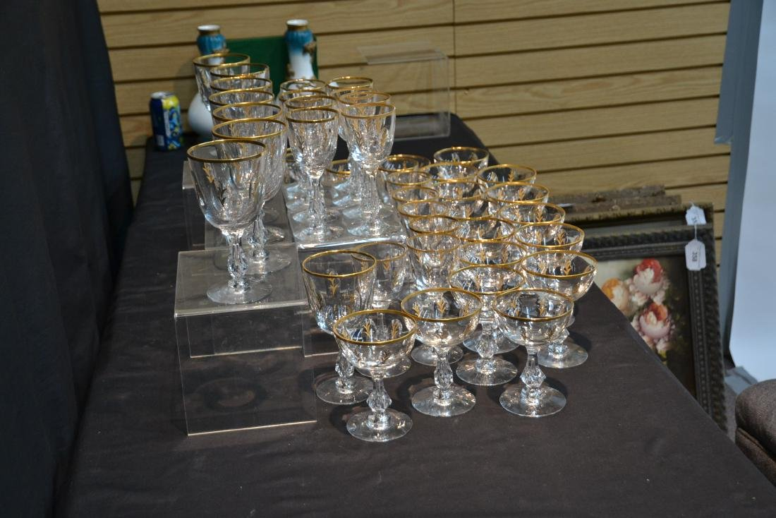 BACCARAT ? GOLD DECORATED STEMWARE GLASSES - 10