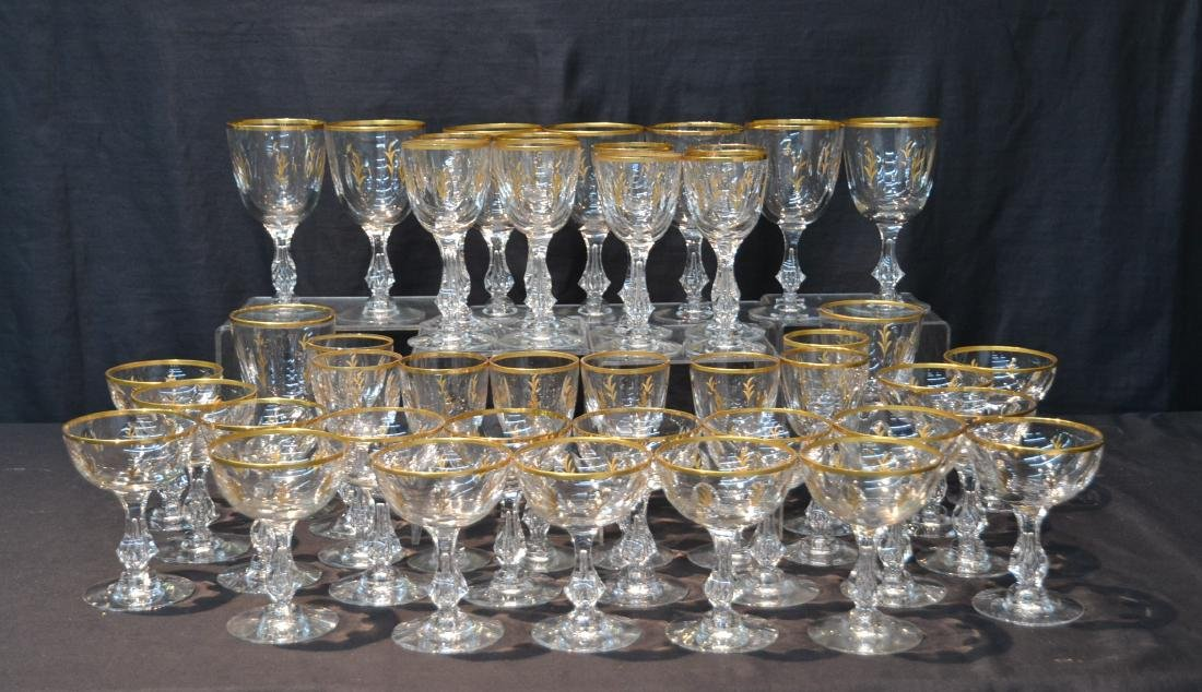 BACCARAT ? GOLD DECORATED STEMWARE GLASSES
