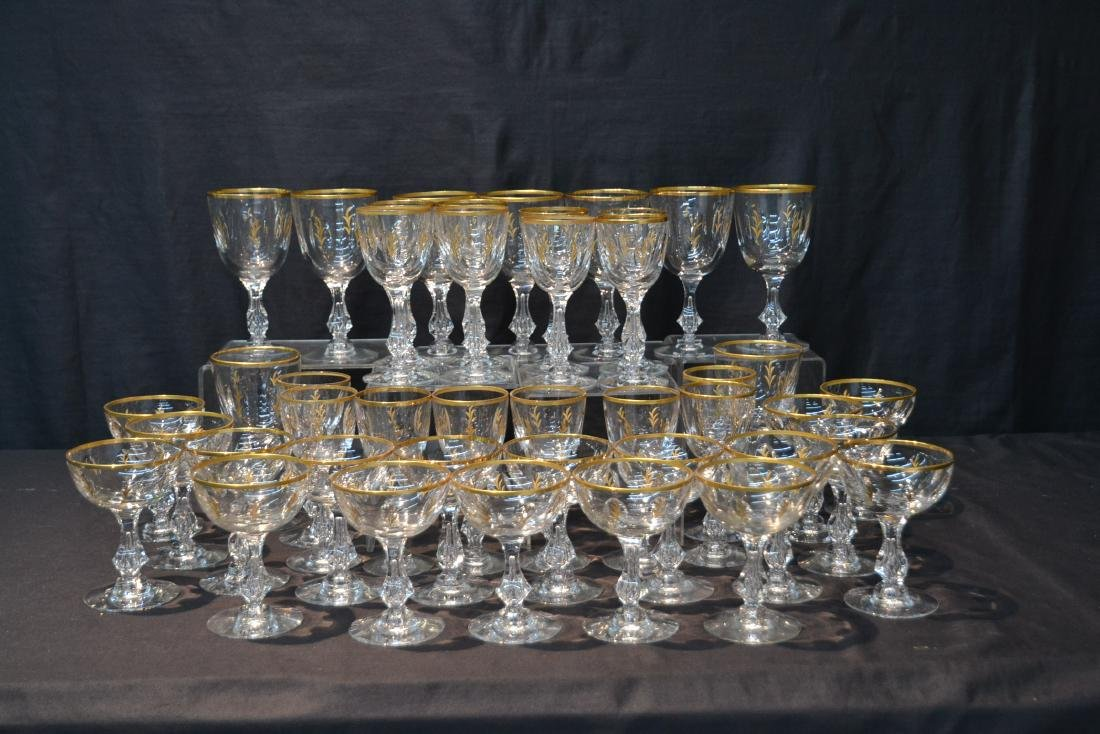 BACCARAT ? GOLD DECORATED STEMWARE GLASSES - 2