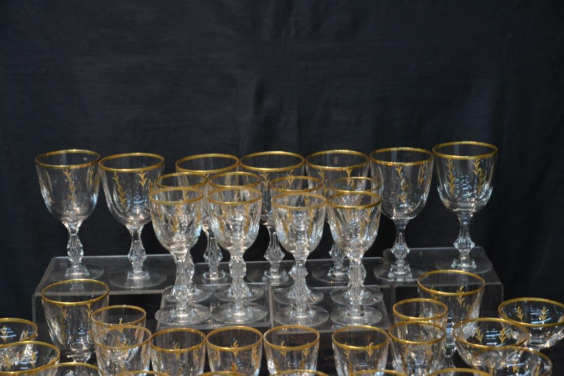 BACCARAT ? GOLD DECORATED STEMWARE GLASSES - 4