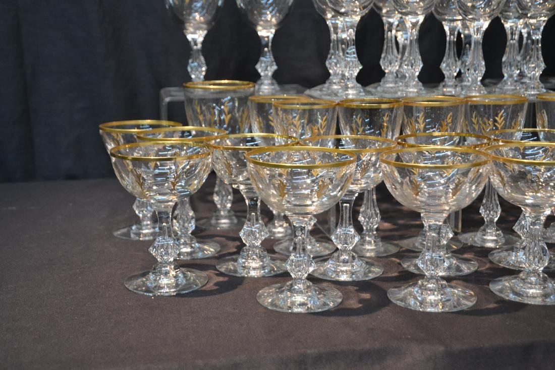 BACCARAT ? GOLD DECORATED STEMWARE GLASSES - 5