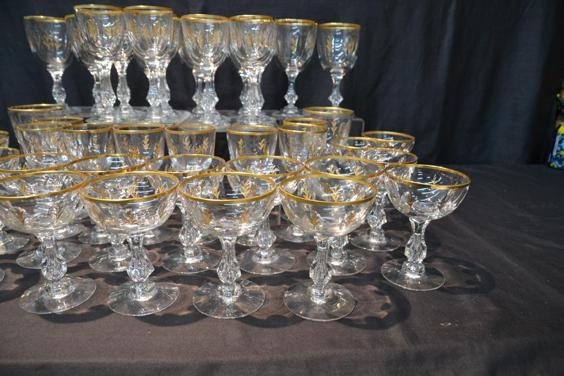 BACCARAT ? GOLD DECORATED STEMWARE GLASSES - 6