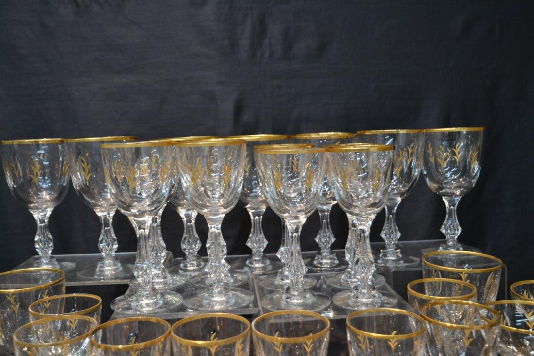 BACCARAT ? GOLD DECORATED STEMWARE GLASSES - 7