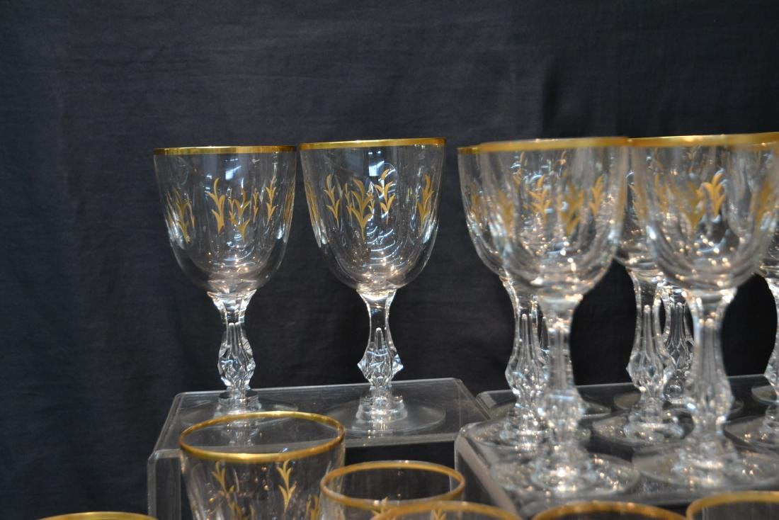 BACCARAT ? GOLD DECORATED STEMWARE GLASSES - 8