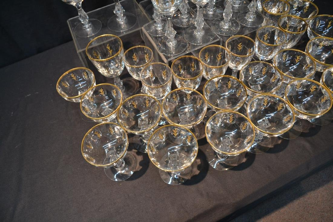 BACCARAT ? GOLD DECORATED STEMWARE GLASSES - 9