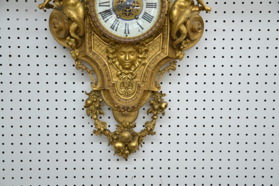 LARGE 19thC FRENCH BRONZE CARTEL CLOCK - 4