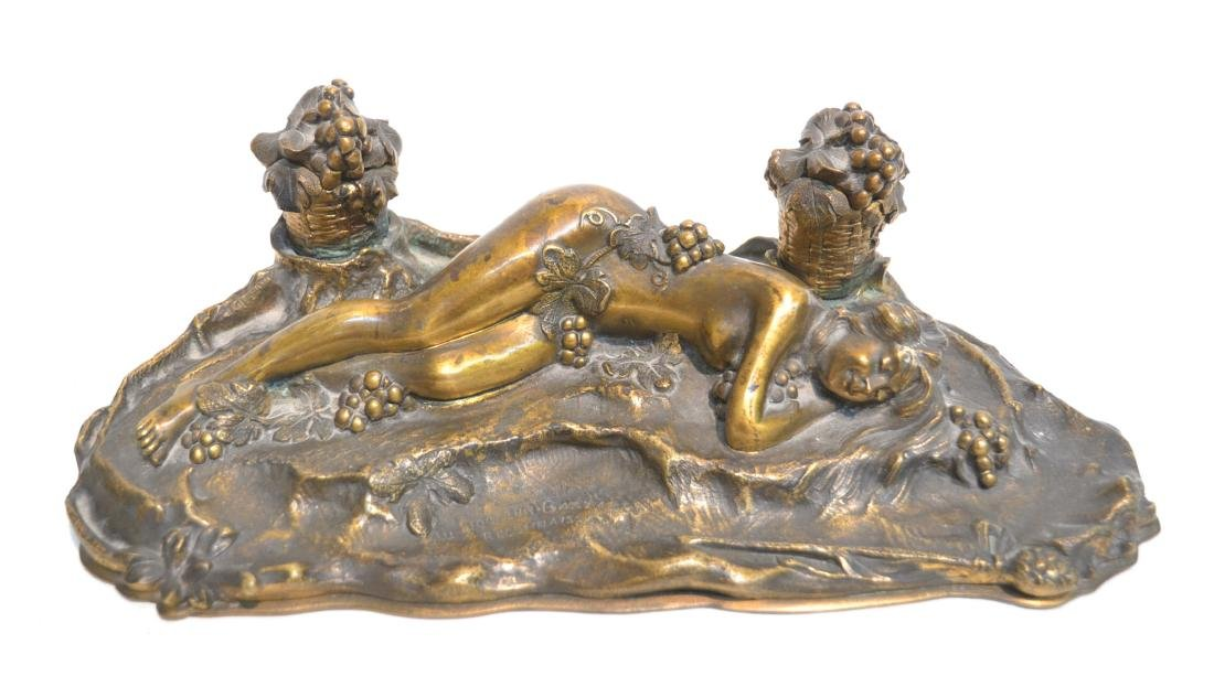 PAUL PHILIPPE (FRENCH, 1870-1930) BRONZE INKWELL