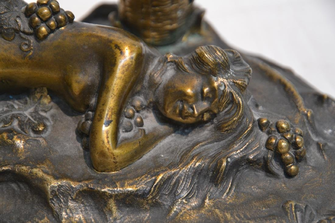 PAUL PHILIPPE (FRENCH, 1870-1930) BRONZE INKWELL - 4