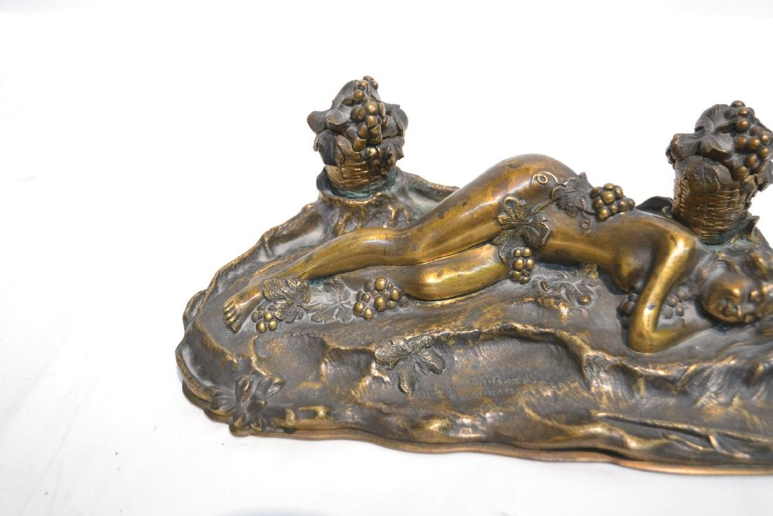 PAUL PHILIPPE (FRENCH, 1870-1930) BRONZE INKWELL - 5