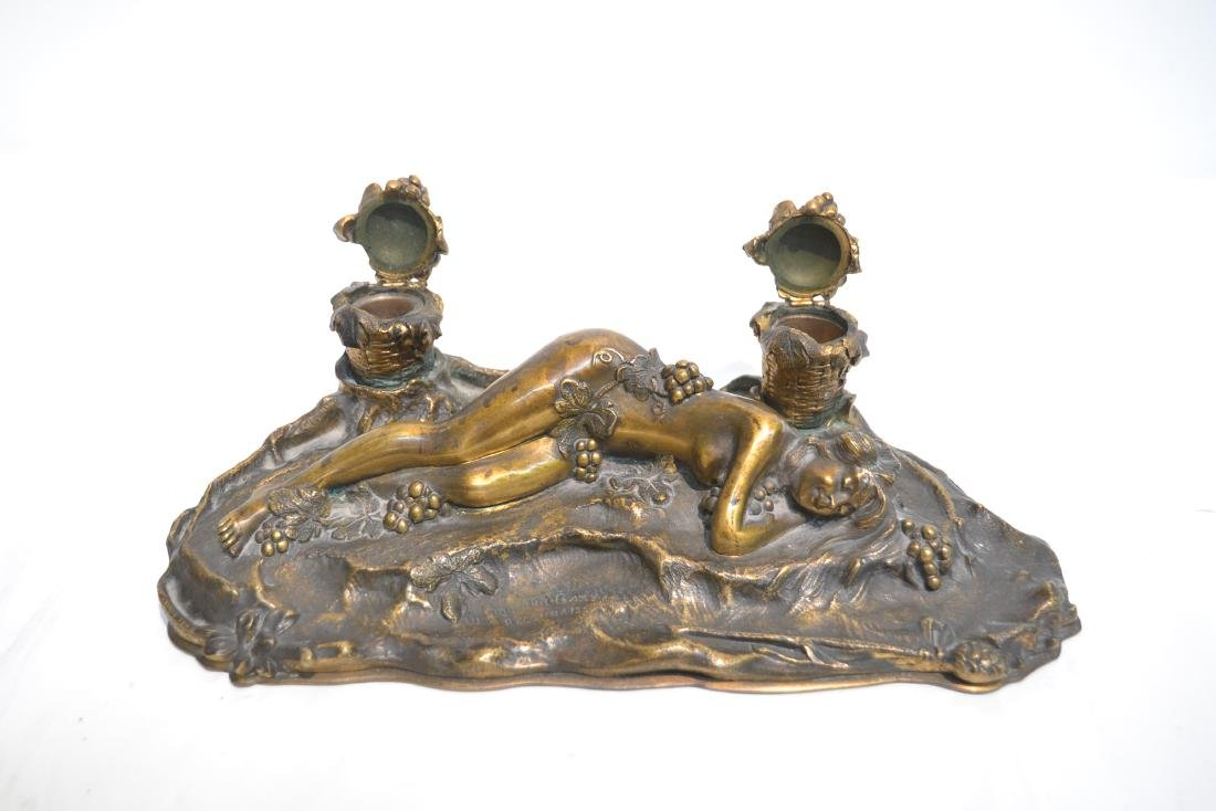 PAUL PHILIPPE (FRENCH, 1870-1930) BRONZE INKWELL - 7