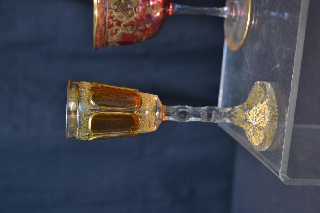 "(3) BOHEMIAN GLASSES - 3"" x 4 3/4"" - 2"