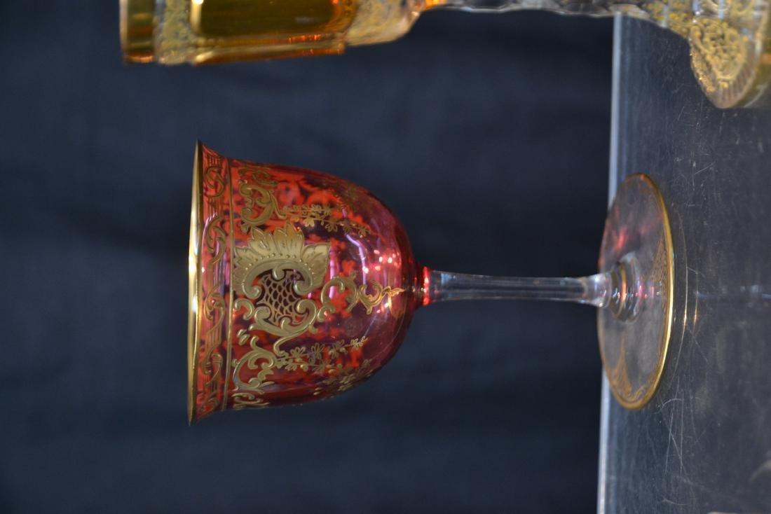 "(3) BOHEMIAN GLASSES - 3"" x 4 3/4"" - 4"