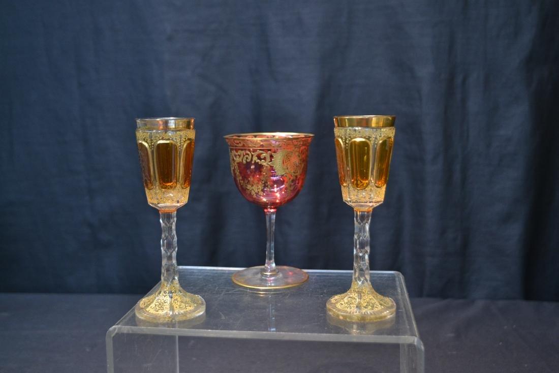 "(3) BOHEMIAN GLASSES - 3"" x 4 3/4"" - 5"