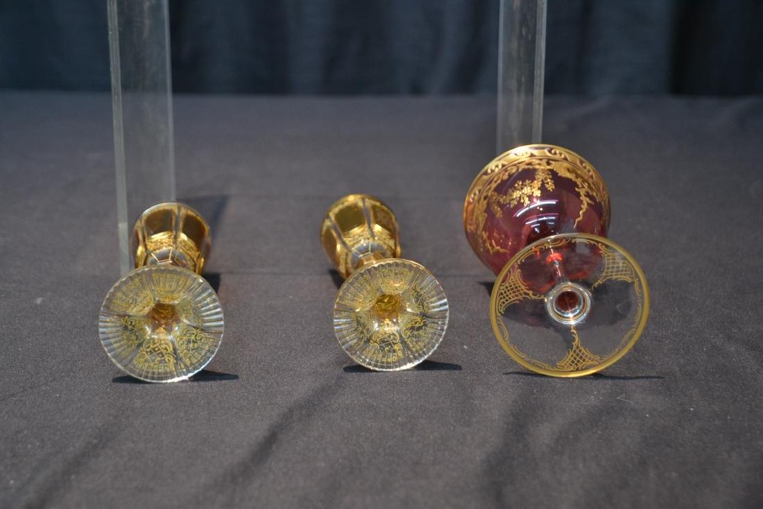 "(3) BOHEMIAN GLASSES - 3"" x 4 3/4"" - 6"
