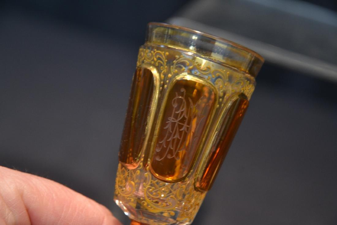 "(3) BOHEMIAN GLASSES - 3"" x 4 3/4"" - 7"