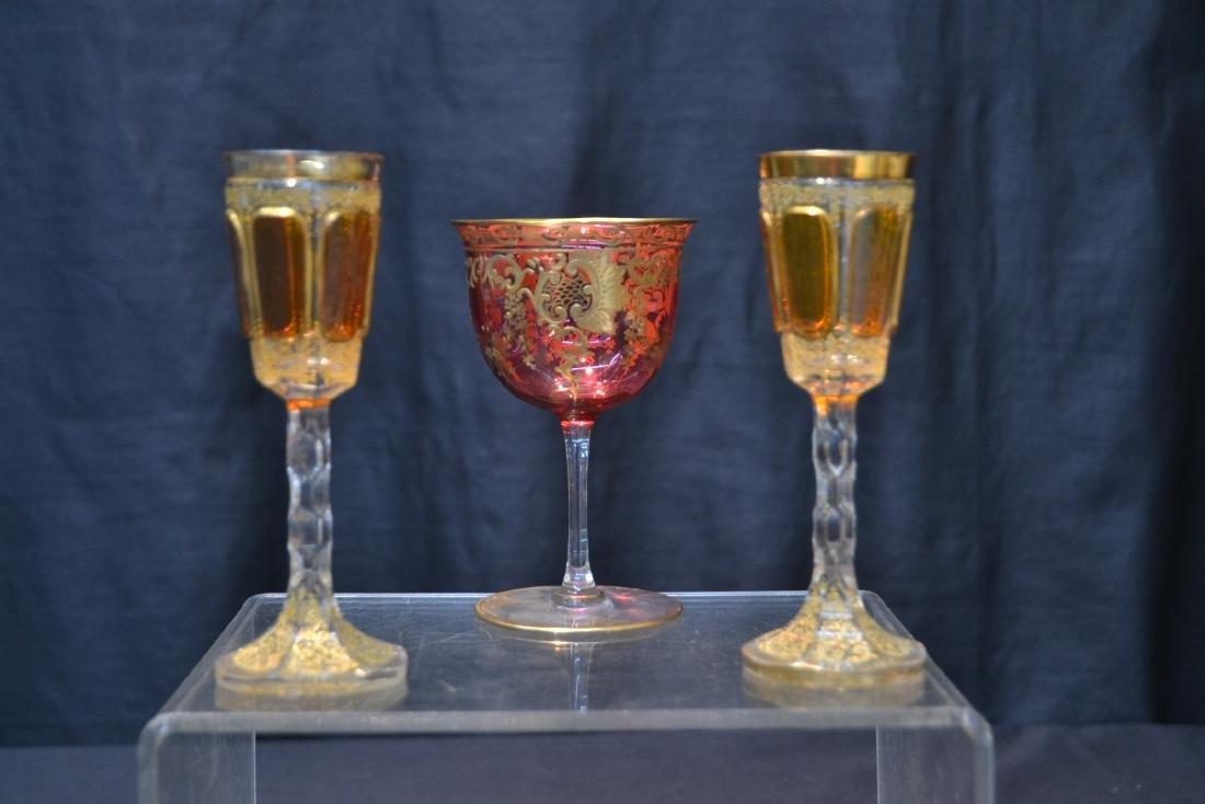 "(3) BOHEMIAN GLASSES - 3"" x 4 3/4"" - 8"