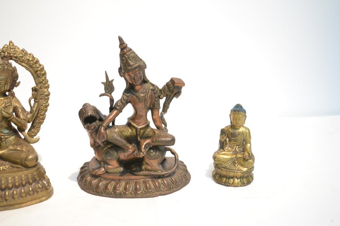 (4) TIBETAN ? BRONZE BUDDHA FIGURES - 6