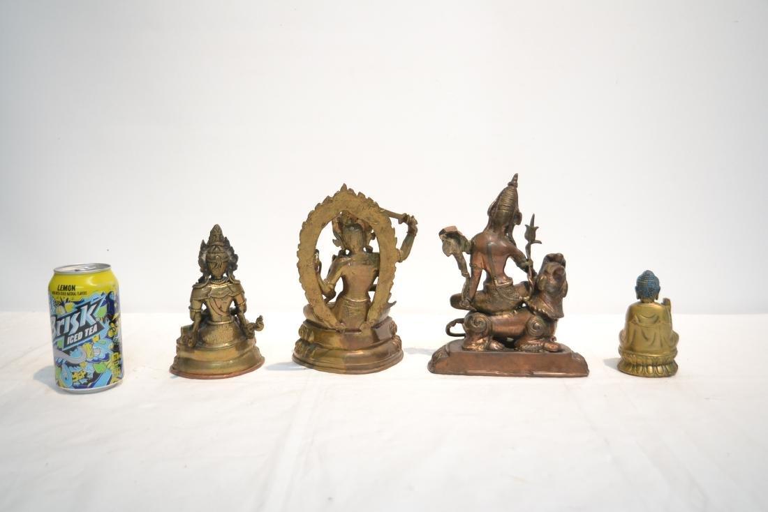 (4) TIBETAN ? BRONZE BUDDHA FIGURES - 8