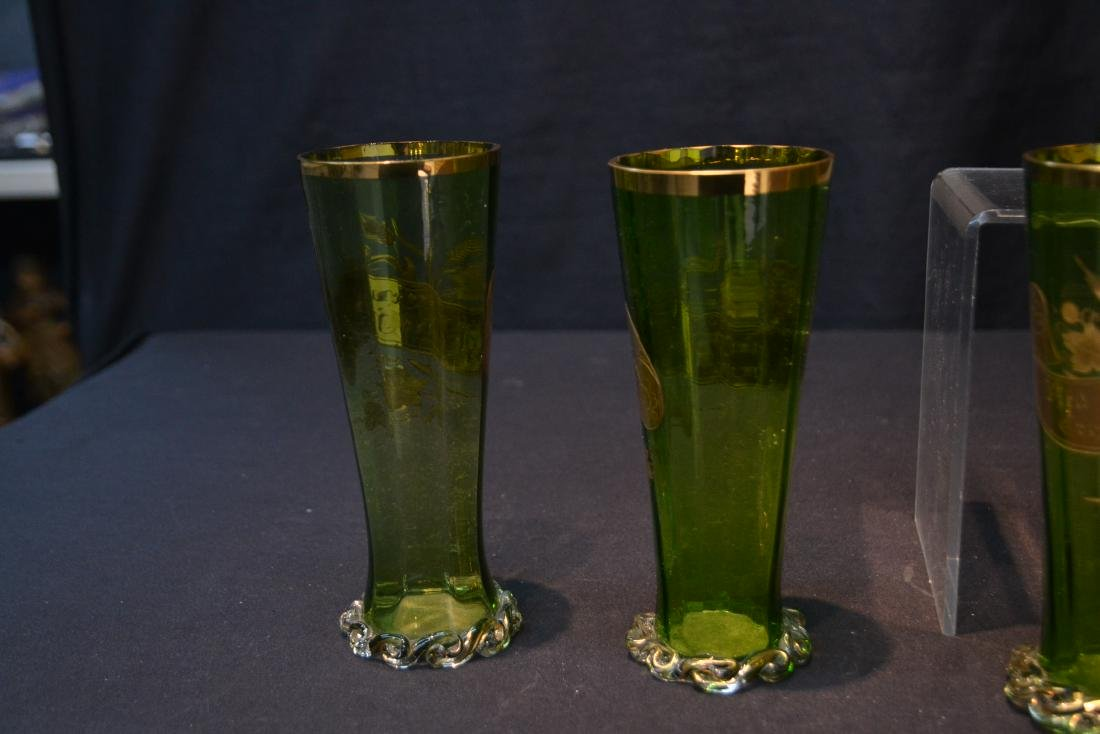 VICTORIAN GERMAN GREEN GLASS PITCHER & GLASSES - 10