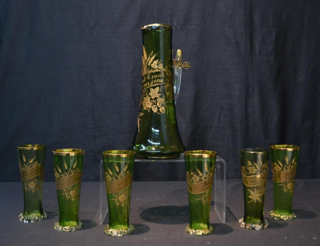 VICTORIAN GERMAN GREEN GLASS PITCHER & GLASSES
