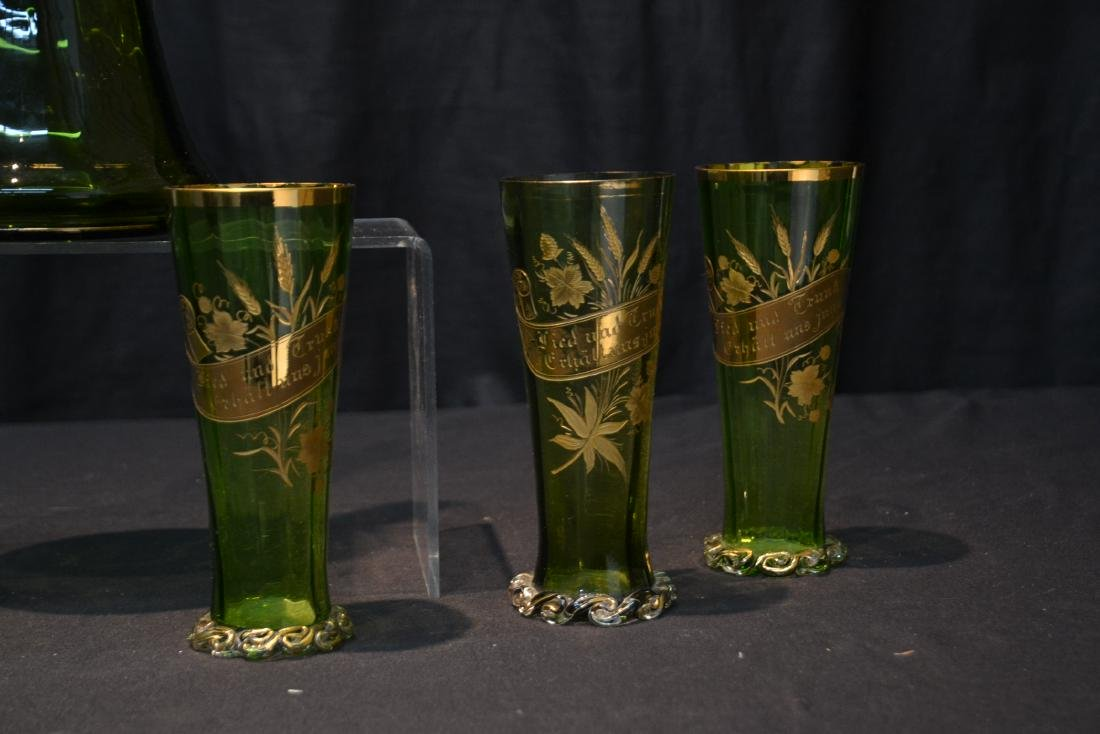 VICTORIAN GERMAN GREEN GLASS PITCHER & GLASSES - 3
