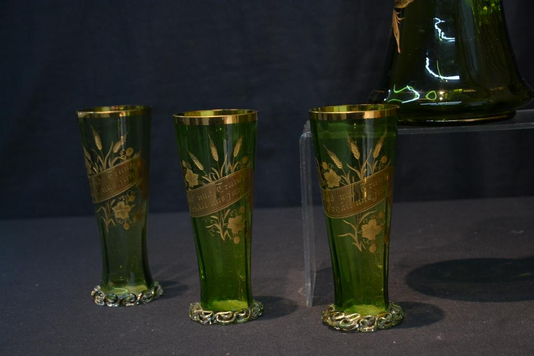 VICTORIAN GERMAN GREEN GLASS PITCHER & GLASSES - 4