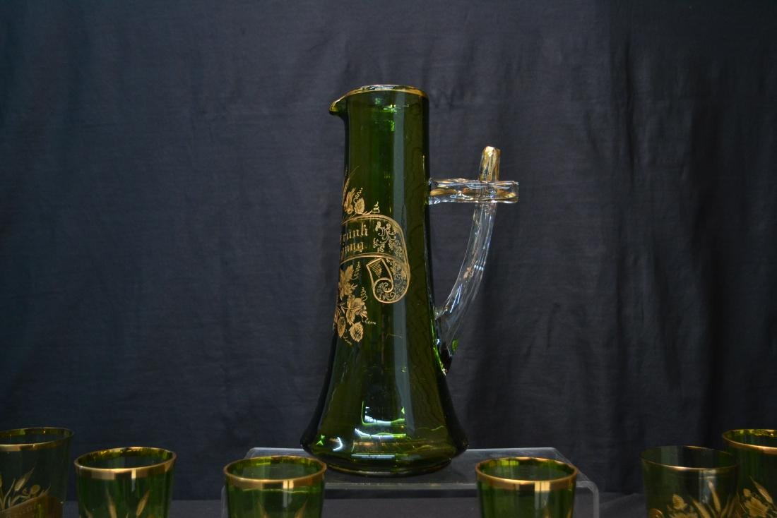 VICTORIAN GERMAN GREEN GLASS PITCHER & GLASSES - 6