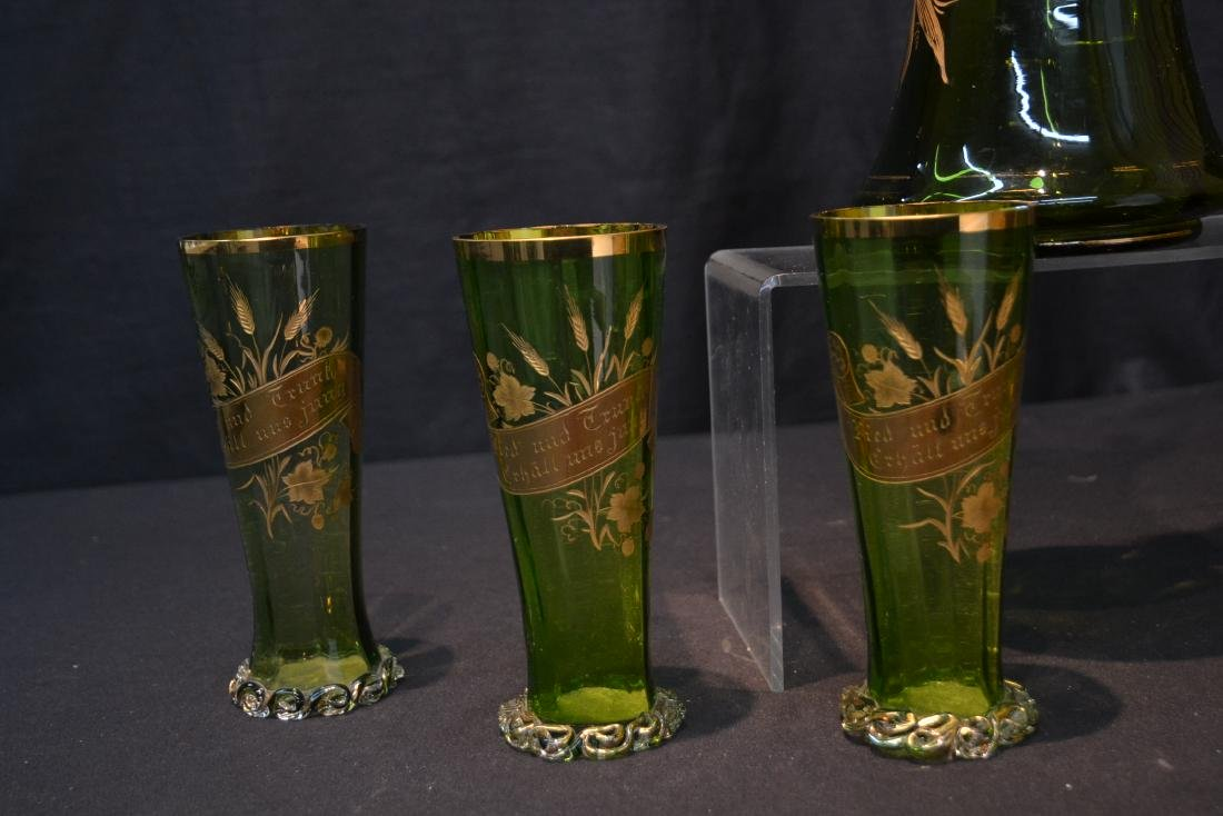 VICTORIAN GERMAN GREEN GLASS PITCHER & GLASSES - 9