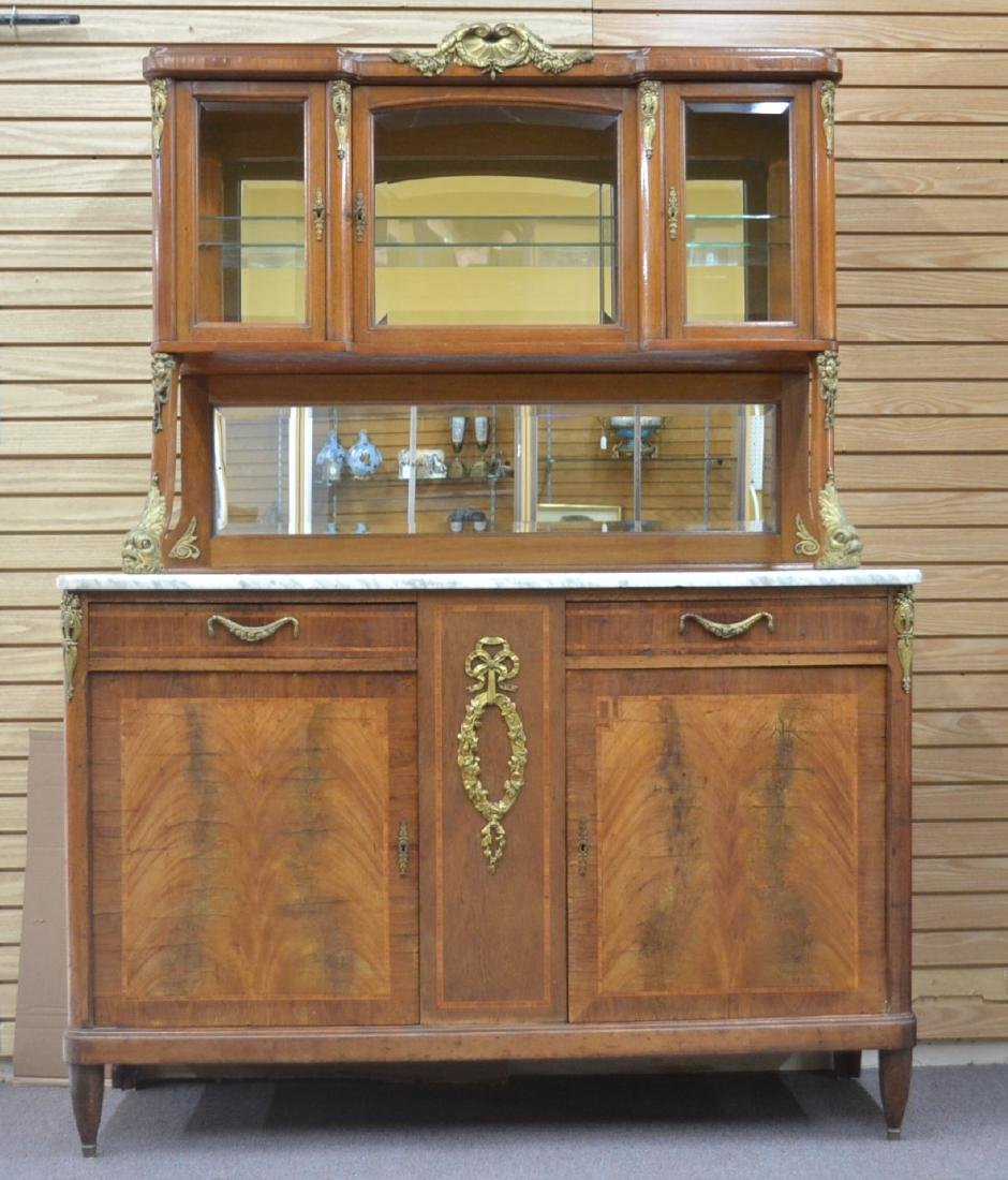 FRENCH INLAID BRONZE MOUNTED MARBLE TOP HUTCH