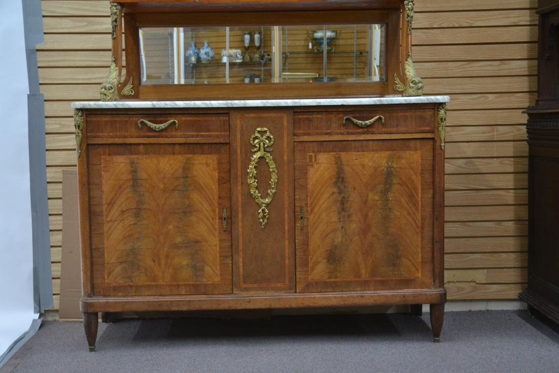 FRENCH INLAID BRONZE MOUNTED MARBLE TOP HUTCH - 3