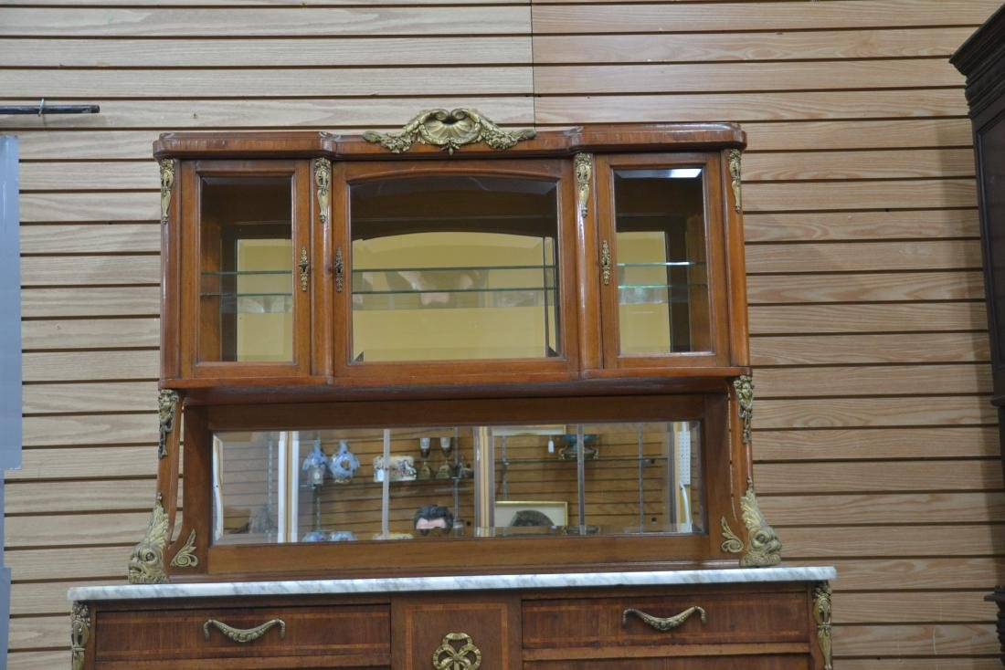 FRENCH INLAID BRONZE MOUNTED MARBLE TOP HUTCH - 4