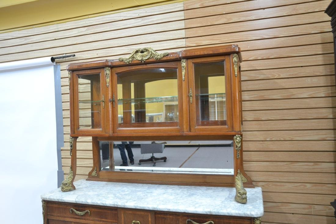 FRENCH INLAID BRONZE MOUNTED MARBLE TOP HUTCH - 5
