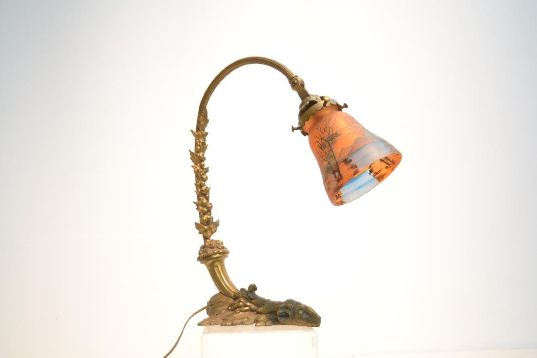 BRONZE DESK LAMP WITH REVERSE PAINTED SHADE - 2