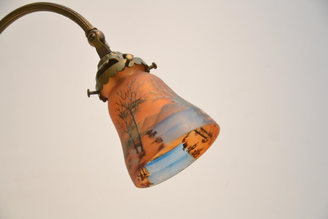 BRONZE DESK LAMP WITH REVERSE PAINTED SHADE - 3
