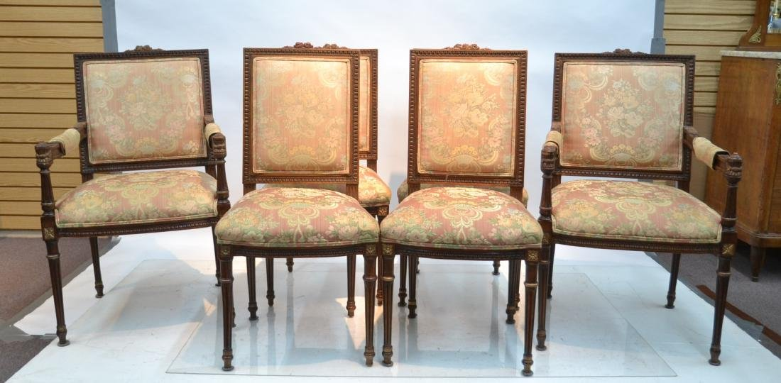 (6) UPHOLSTERED LXVI STYLE CHAIRS WITH