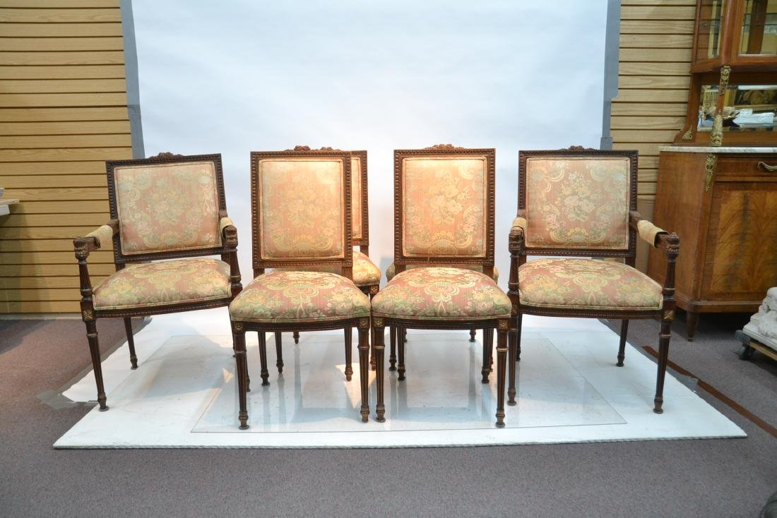 (6) UPHOLSTERED LXVI STYLE CHAIRS WITH - 2