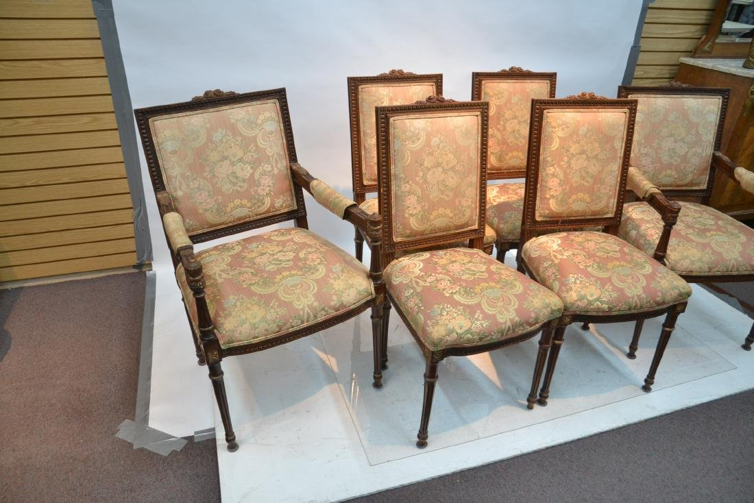 (6) UPHOLSTERED LXVI STYLE CHAIRS WITH - 3