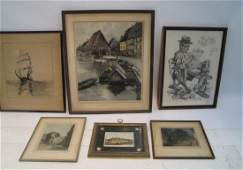 6 ASSORTED LITHOGRAPHS TO INCLUDE
