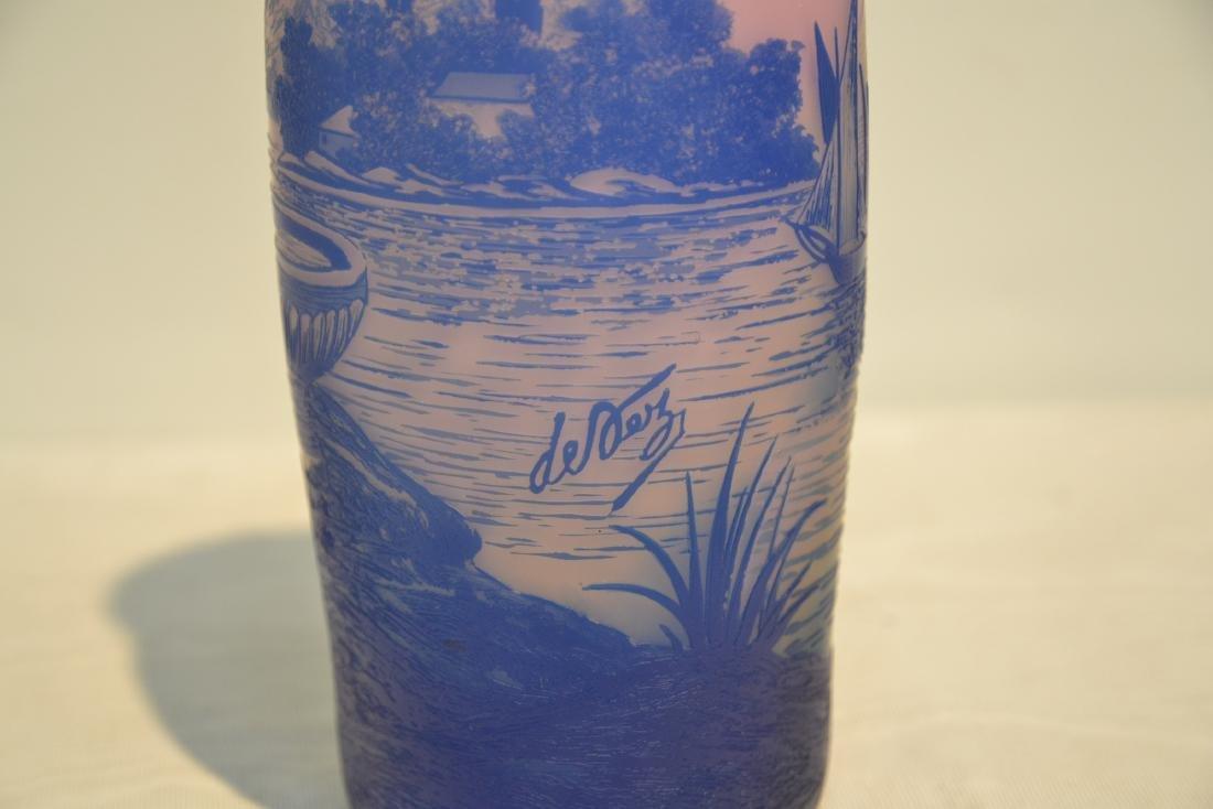 DEVEZ FRENCH CAMEO ART GLASS VASE - 7