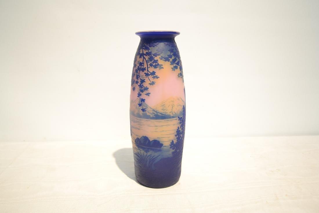 DEVEZ FRENCH CAMEO ART GLASS VASE - 8